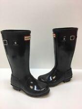 Hunter Original Kids Gloss Black Rubber Pull On Tall Rain Boots Girls Size 2