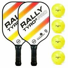 1 Pair of Pickleball Paddle w/ Sweat Wicking Hand Grip & 4 Outdoor Game Balls