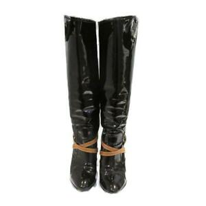 LOUIS VUITTON Knee-high boots enamel patent leather Red Bordeaux Used size 39