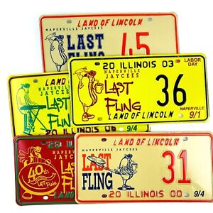 Hot Dog License Plates Lot of 5 Summer Decor Man Cave Wall Gift Special Event IL