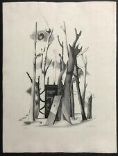 MODERNIST Signed Lithograph ~ SURREAL LANDSCAPE ~ 1940s Karl Fortess MID-CENTURY