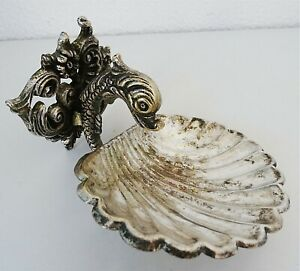 ANTIQUE BRASS WITH CHROMED SOAP DISH DOLPHIN WITH SHELL ORNAMENT