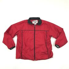VINTAGE Champion Track Jacket Size Large L Adult Red Warm Up Wind Breaker Cuffed