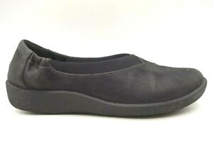 Clarks Cloudsteppers Black Casual Slip On Loafers Shoes Women's 8.5 M