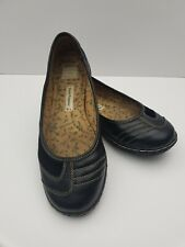 Hush Puppies Black Leather Slip on Flat Shoes Size 5