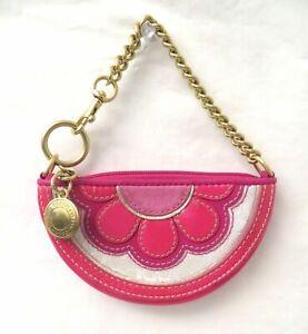 Coach Pink Flower Small Chain Strap Wristlet Purse