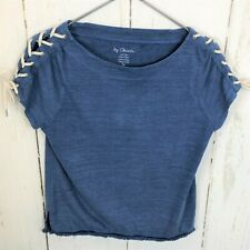 By Chicos Blue Rope Tie Nautical Fringe Knit Top Short Sleeve Cotton Sz:0 Euc