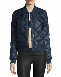 Alo Yoga Down Filled Blue Idol Quilted Bomber Jacket Size XS