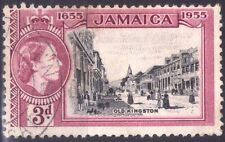 JAMAICA - ELIZABETH II° - RARO FRANCOBOLLO DA 3 PENCE - 1955