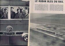 Coupure de presse Clipping 1954 Motrice CC-7121 le ruban bleu du rail  (4 pages)