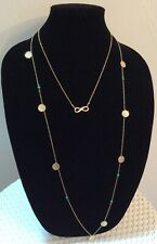 Fashion 2 pendant necklaces/ sm hammered discs, infinity symbol,& turq beads