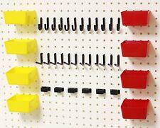 WallPeg Pro 100 Peg Hook Kit, Plastic Bins & Flex-Lock Pegboard Hooks 38RYBX