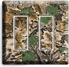 OAK TREE MOSSY CAMO CAMOUFLAGE DOUBLE DECORA LIGHT SWITCH WALL PLATE HUNT CABIN