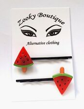 Rockabilly 50's Red Watermelon fruit hair slides, grips, black bobby pins. Gift