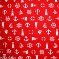 Sailing Nautical Fabric Anchors 100% Cotton White Red Navy Blue - 2 Designs