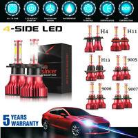 4 Side H4 H7 H11 9005 9006 390W 58500LM LED Headlight Kit CREE Hi Low Bulb 6000K