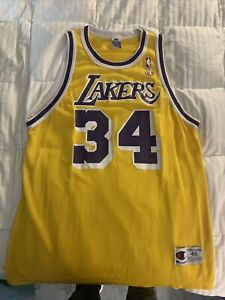 MENS 48 - Vtg NBA Los Angeles Lakers #34 Shaquille O'Neal Champion Print Jersey