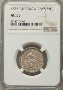 1853 25C Arrows and Rays AU55 NGC