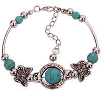 Sweet Tibetan Silver Bracelet Turquoise Inlay Butterfly Bead Adjust BangleFBDU