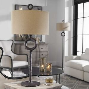 """FERRO INDUSTRIAL INSPIRED RUSTIC CAST IRON XXL 35"""" TABLE LAMP UTTERMOST 27663"""