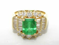 Estate 4.94 ctw. Diamonds Green Emerald Ring in 14k Yellow Gold 8.5 g Size 6.25