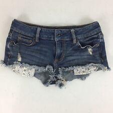 BULLHEAD BLACK Junior Jean Short Shorts Distressed Blue Denim Size 0