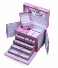 HUGE PINK LEATHER JEWELRY BOX CASE STORAGE w/ LOCK KEY