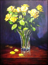 William Martin Yellow Rose Original Oil on stretched canvas Hand Signed in back