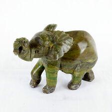 Handgeschnitzt Afrikanische Elefant Stein Skulptur,Braun/Grün stein,13 cm Lang