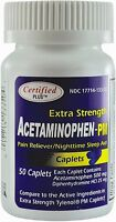 Acetaminophen Extra Strength Pain Reliever Generic Tylenol PM 50 Tabs Free Ship
