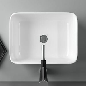 Bathroom Basin Sink Hand Wash Counter Top Gloss White Wall Mounted Hung Ceramic