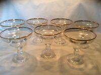 RARE VINTAGE GOLD RIMMED SHERBET GLASSES, SET OF 7