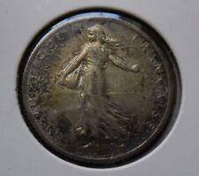 1918 1 franc coin SILVER - TONING 83.5% Silver
