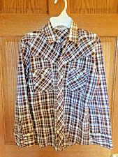 Vintage Western Pearl Snap Shirt Boys Sz 14 Montgomery Ward Polyester/Cotton b20