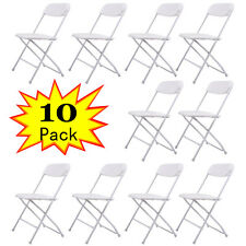 (10) Commercial White Plastic Folding Chairs Stackable Wedding Party Event Chair