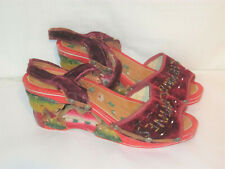 1940s Vintage Hand Made Wood & Embroidered Wedges - Philippines Souvenir Shoes