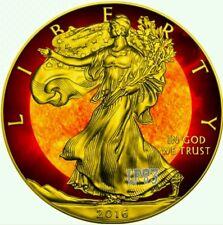 2016 US Walking Liberty Solar Flare 1 Oz $1 Fine Silver Coin - 24K Gold Gilding.