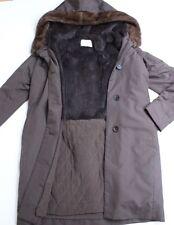 Yves Salomon marrone visone pelliccia sintetica cappotto con cappuccio 38 UK 10