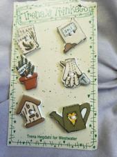 Vintage Trena's trinket Gardening Motif Porcelain Buttons