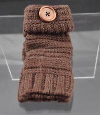 New Brown Knit Texting Fingerless Gloves Button Trim B10