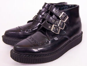 T.U.K Black Leather 3-Buckle Creeper Pointy Ankle Boots Size 5M 7W