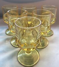Set Of 6 VTG Indiana Glass Kings Crown Thumprint Goblets~Bright Yellow W1345678