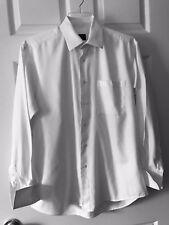 Ike Behar Neiman Marcus Solid Striped Button Down White Shirt 16 34 100% Cotton