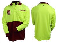 2019 State of Origin QLD Queensland Maroons LONG Sleeve Polo HI VIS Work Shirt