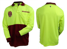 2018 State of Origin QLD Queensland Maroons LONG Sleeve Polo HI VIS Work Shirt