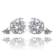 Women Jewelry Elegant 925 Sterling Silver Crystal Ear Stud Earrings Heart Flower