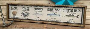 Vintage Style Fishing Measurement Wood Sign Display Rustic Decor Crab Fish 6x24