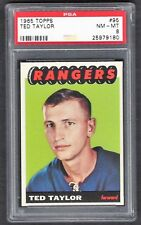 1965 Topps #95 Ted Taylor, PSA 8 NM-MT, Vintage NY Rangers NHL Hockey 1965-66