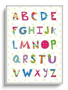 Wandbild A4 Deko ABC Alphabet Poster Schule Lernen Buchstabe Plakat Kinderzimmer