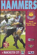 2000/01 WEST HAM UNITED V MANCHESTER CITY 11-11-00 Premier League (Very Good)